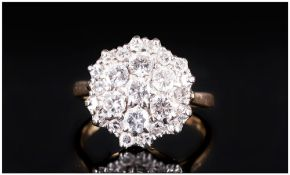 Ladies 18ct Gold and Diamond Cluster Ring ' Flower head Setting ' The Five Central Brilliant Cut