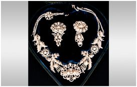 Victorian Seed Pearl Fringe Necklace In Fitted Case, Of Stylised Floral Form, Together With 2
