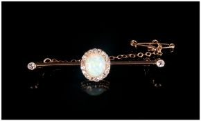 Antique 18ct Gold Diamonds & Opal Ladies Brooch With Safety Chain, The central Opal Surrounded by 20