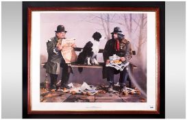 L.Rushton Pencil Signed Limited Edition Colour Print 'Tramps'  Number 332/1000. 23x19.5'' Framed &