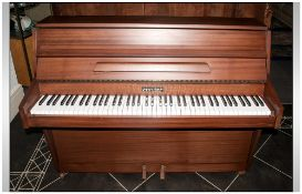 Small Modern Upright Piano By Zender, with overstrung underdamper Iron Frame. In Good overall