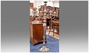 Very Large & Impressive Plated Aluminium Floor Standing Five Branch Candelabrum. Silver in Colour,