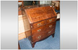 18th/19thC Provincial Oak Bureau, fall front with fitted interior, above two short and two long