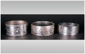Broad Silver Hinged Bangle, Raised And Engraved Foliate Decoration To The Front, Fully Hallmarked