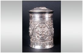 Oriental Early 20th Century Silver Embossed Lidded Jar. Decorated with Embossed / Raised Figure In a