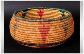 Antique Native American Reed Worked Bowl Of Traditional Form with stylized geometric tapering