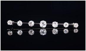 Antique Ladies - 18ct White Gold Set 7 Stone Diamond Bar Brooch. The Cushion Cut Diamonds of