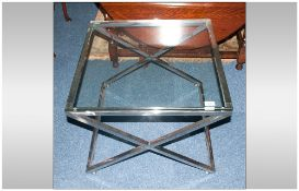 Modern Designer Square Glass And Chrome Coffee Table 25½ Inches². Height 19 Inches