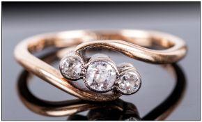 Edward VII 18ct Gold & Platinum 3 Stone Diamond Ring, Fully marked.