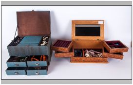 Two Jewellery Boxes Containing a Good Collection of Quality Costume Jewellery. Fully Fitted