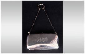 Edward VII Ladies Silver Purse With Fitted Leather Interior. Hallmark Chester. 3.75'' in width. 58.1