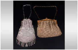 Art Deco White Metal Fine Mesh Purse / Bag with Tazzle Drops. Length 8 Inches + a Fine Gold Coloured