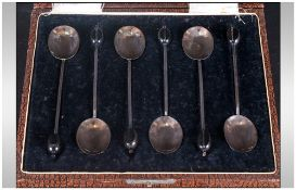 A Boxed Set Of Six Silver Coffee Spoons Hallmark Sheffield 1924.