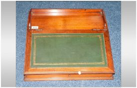 Edwardian Mahogany Table Top Writing Slope, Gallery Top With Hinged Leather Slope, Plain Interior.