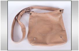 Longchamp 1948 - Designer Leather Hand Shoulder Bag. Beige Colour way and Chrome Furniture.