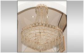 Large Crystal Glass Chandelier of Classical Form on a brass frame, with seven circles of crystal