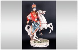 Italian - 20th Century Very Large and Substantial Hand Painted Ceramic Figure of a Napoleonic