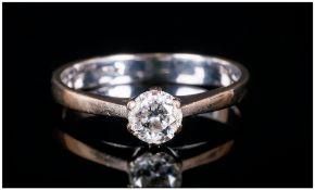 Ladies 18ct White Gold Diamond Ring Set with A Round Cut Single Stone Diamond, Estimated Diamond