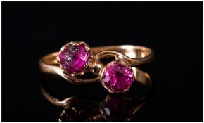 Ladies Antique 18ct Gold Rubies Set Twist Over Ring, Not marked by tests 18ct.