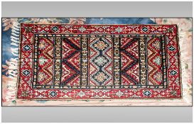 Very Fine Hand Made Bedouin Cashmere Fine Silk Rug/Throw. Measures 48 by 30 inches and multi