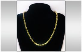 Peridot Tennis Style Necklace, 30+cts of oval cut brilliant peridots in a full length, continuous,