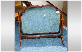 Late 18th/Early 19thC Mahogany Framed Toilet Mirror, Heart Shaped Top On Square Tapering Supports