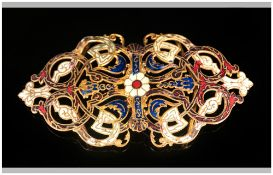 Art Nouveau Enamelled Buckle, red, blue and cream enamel on an openwork backing; 4 inches wide (some