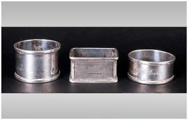 Antique Silver Napkin Holders, 3 in total. All fully hallmarked. 2ozs.