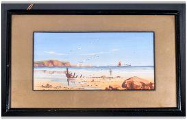 Victor L. Prescott 19th & 20th Century -British Artist ' Coastal Landscape of The Straits of Dover '