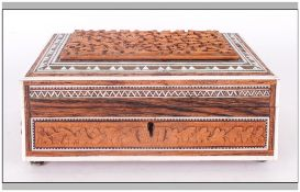 Indian Antique Sadeliware Trinket Jewellery Box Carved With floral decorations, Edged in ivory