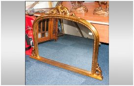 Large Over Mantle Mirror with gilt frame.