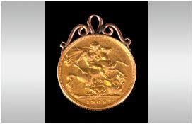 Edward VII 22ct Gold Sovereign & Mount, 8.4 grams.