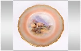 Royal Worcester Hand Painted Cabinet Plate date 1911 'Sheep in a Highland Setting'. Signed H