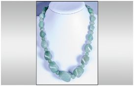 Green Aventurine Large Bead Necklace, graduated, twisted oval beads of the jade-like gemstone,