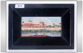 withdrawn Small Oil Painting on Wood Panel - Vista Del Barrio De. Gotsxmani. En. Colombia, Depicting