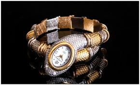 Ladies Novelty Wristwatch, In The Form Of A Coiled Serpent/Snake. Two Tone Metal, Quartz Movement,