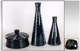 Midwinter Clayburn Factory Jessie Tait Design - 4 Piece Cruet Set, with Black and White Squiggle