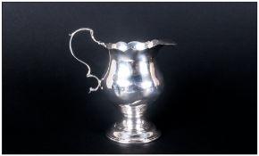 George III - Fine Silver Cream Jug Helmet Shaped with Scroll Handle and Wavy Rim To Top. Hallmark