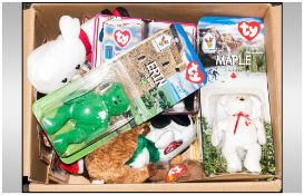 Collection Of Beanie Babies, some boxed, some loose.