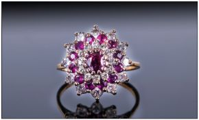Ladies 18ct Gold Ruby and Diamond Cluster Ring. Flower head Setting.
