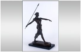 A 20th Century Bronze Figure 'Diana The Huntress With Spear' signed R.Leger to base. Raised on a