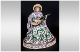 European Fine Porcelain Figurine of a Lady Musician Dressed In 19th Century Dress, Marks C.J To