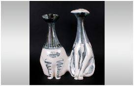 Richard Parkinson Large Pottery Decorated Cat Of Unusual Double Form, Active 1952-1963, Decorated in