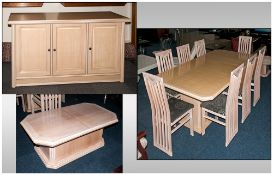 A Contemporary Dining Suite in bleached an rubbed oak, in the Rennie Mackintosh Style Comprising 8