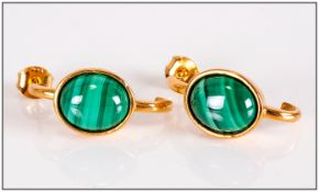Malachite J-Hoop Earrings, 8.5cts of oval cabochon cut striated malachite set in 14ct gold vermeil