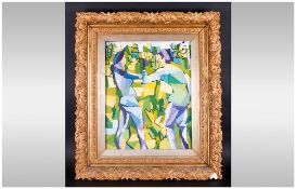 Mid Twentieth Century Abstract Impressionist Painting of Two Dancers housed in elaborate 19thC