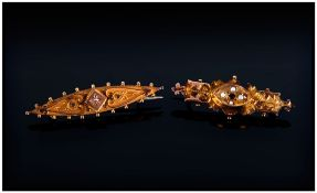 Victorian 9ct Gold Seed Pearl and Ruby Brooch, marked 9ct; 2 inches long, plus a Victorian 9ct