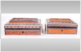 Indian Sadeliware Antique Jewellery Caskets, finely carved to the lids with the Tah Mahal with Ivory