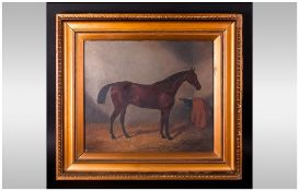 19th Century Oil On Canvas Of A Bay Hunter In A Stable Setting finely executed in gilt frame.