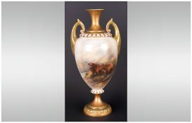 WITHDRAWN // Royal Worcester Handpainted and Tall Two Handled Vase decorated with images of highland